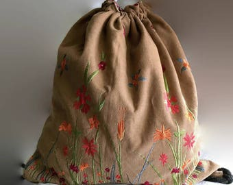 Convertible drawstring bag, reversible corduroy backpack, red corduroy bag, print canvas bag, brown corduroy bag, flower embroidery backpack