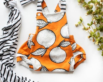 LIMITED Orange Romper / Summer Romper / Summer Onepiece / Unisex Romper / Clementines / Baby Toddler Kids Romper / Stripe Romper /0-2/3T