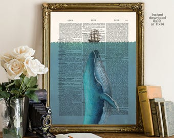 Whale poster - Ship poster  - bar decor - living room decor -  Poster Dictionary art, hipster Art - Print Wall Decor, Nursery Wall Art