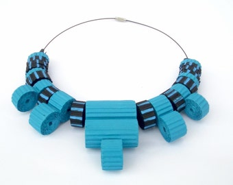 design jewelry-handmade necklace with black and blue corrugated cardboard beads-eco blue necklace-valentines gift-wife gift-girlfriend gift