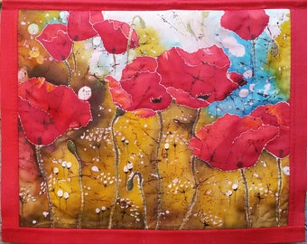 Red poppies, batik panel, quilted panel, batik art, silk painting, art paintings flowers, wall decoration.
