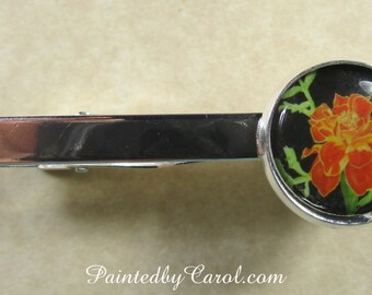 Marigold Tie Bar, Marigold Tie Clip, Marigold Tie Tack, Marigold Pin, Marigold Mens Gifts, Marigold Bridal, Fathers Day Gifts, Gifts for Dad
