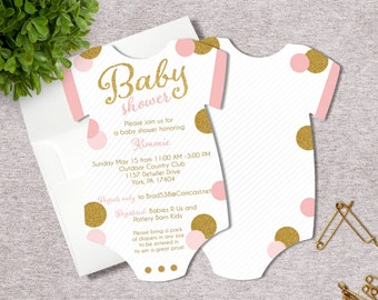 Pink and Gold Baby Shower Invitation | Glitter Shower Invite | Baby Girl Baby Shower | Printed Invitation | Baby Bodysuit