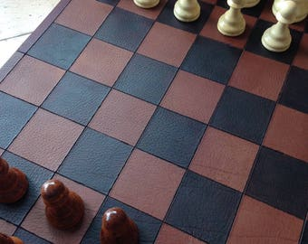 M4 Hand Crafted Leather Chess Board 16.5 x 16.5 inch, with wood chess, Nine Men's Morris on the back!