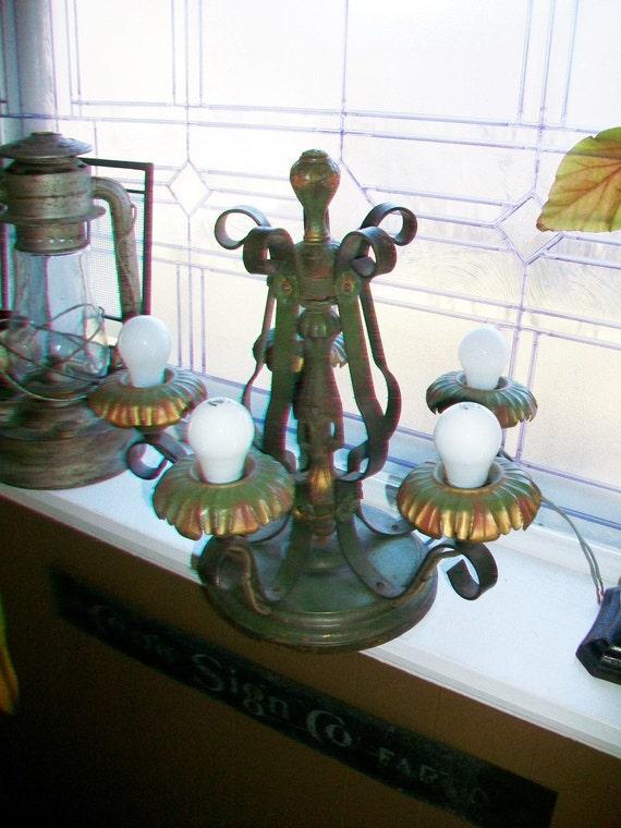 Vintage 5 Light Ceiling Light Fixture Retro Cottage Chic Chandelier
