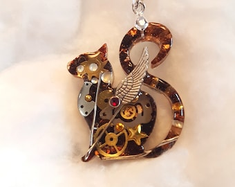 Steampunk cat Necklace