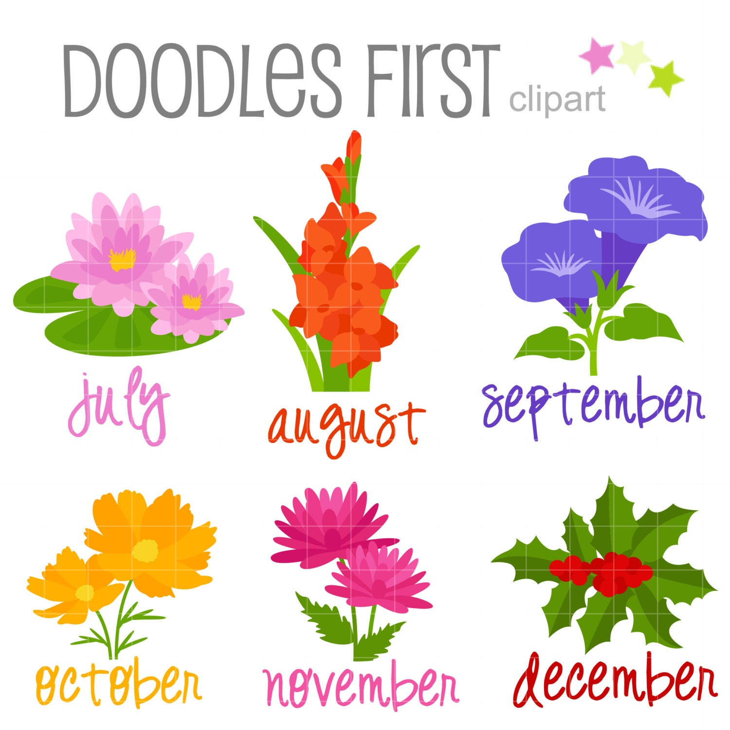 Flowers Of Each Month: Flower Of The Month July December Digital Clip Art For