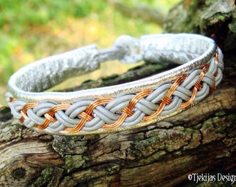 Norse Pagan Viking Bracelet | DRAUPNIR Copper and Silver Leather Cuff | Custom Handmade Folklore Unisex Bracelet