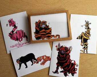Animal Cards/ Pack of 5 Animal Greeting Cards/ Handmade Cards/ Blank Cards/ Fine Art Card/ Quirky Card/ Unravimals/ Random
