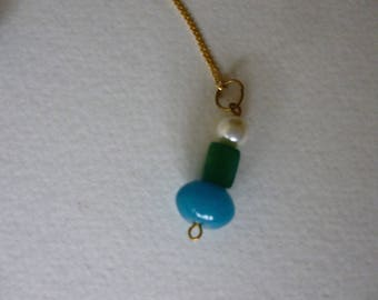 Pendant Blue Apatite Green Jade Freshwater Pearl