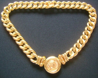 MMA Metropolitan Museum of Art Yellow Gold Plated Curb Link Chain Necklace Roman Imperial Diva Favstina Avgvsta Coin Pendant & Amber Citrine