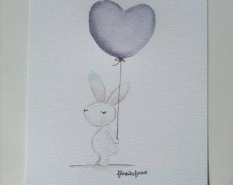 Illustration the White Rabbit and heart balloon