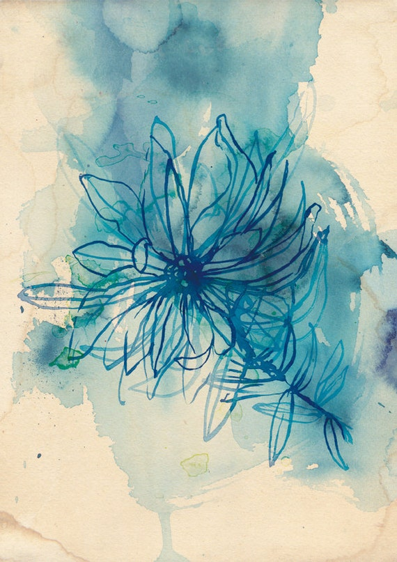 Blue Wash Wild Flower Wall art print - botanical watercolour