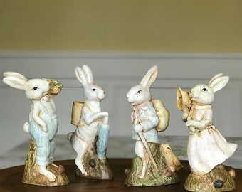 Vintage Easter/Spring Themed Hand-painted Bunny Family Figurines