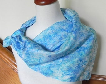 """Large square hand dyed silk scarf in shades of blue, 29"""" square, # 356, ready to ship"""