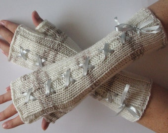 Corset Fingerless Gloves Mittens Beige Brown White Arm Warmers Acrylic