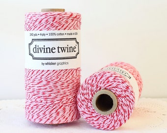 Red & Pink Bakers Twine, Divine Twine 240 Yards, Red and Pink Twine, Christmas Twine, Holiday Twine, Holiday Packaging, Peppermint Twine