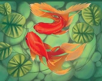 digital Koi fish lovers painting