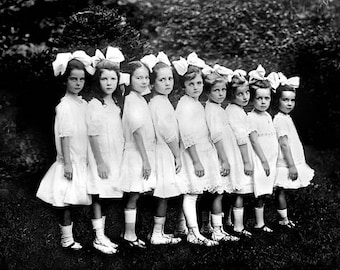 Pretty Little Party Girls All In The Row 1910's Photo