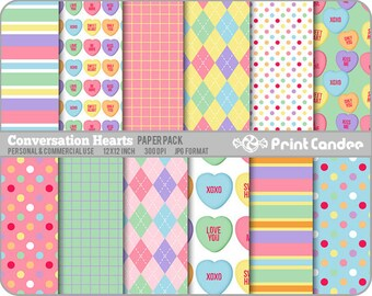 70% OFF SALE! - Valentines Conversation Hearts Paper Pack (12 Sheets) -  Personal and Commercial Use -  valentines day candy hearts