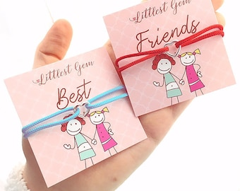 1 or 2 Heart Friendship Bracelets - Adjustable, red, blue, mint, black, red, pink, cream - comes with best friends cards