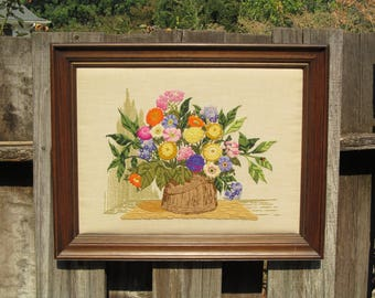 Vintage Crewel Embroidery, Wildflowers in Wooden Pail, Completed and Framed, Extra Large Size