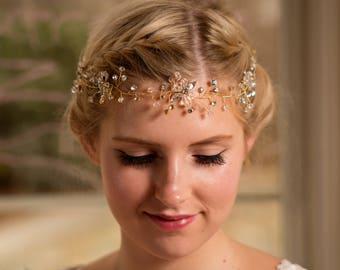 Bridal Hair Vine, Wedding vine with crystals and beads, Flower crystal wedding tiara, Crystal Beads Flower Headpiece, Bridal Head piece