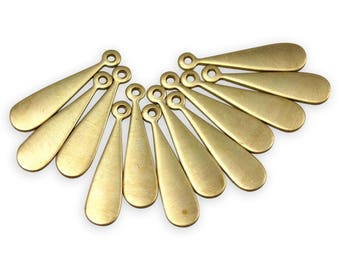 Long Skinny Brass Teardrop Engraving Charms  (12X) (M755)