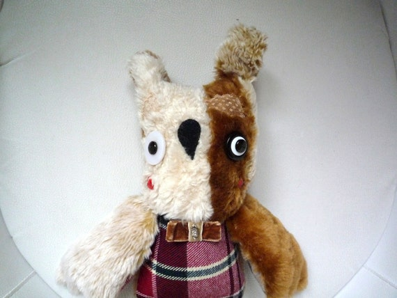 Mark owl , soft art creature textile faux fur doll friend by Wassupbrothers, recycled ,retro , heirloom, interior boho plaid