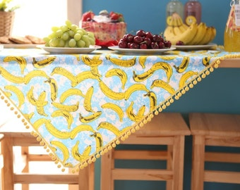 "Laminated Cotton Fabric by the yard Yellow Banana _ sky blue_59"" wide 142129"