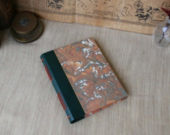 Leather journal, hand-dyed green leather journal, hardcover notebook, leatherbound journal