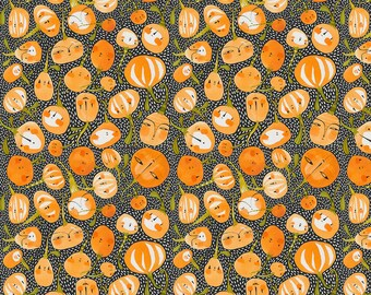 Fall Goodness -- Pumpkin Party in Black by Cori Dantini -- 1/2 Yard