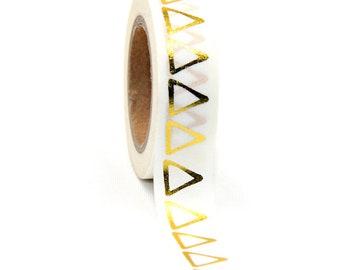 Gold Foil Triangle White Washi Tape 15cm x 10m Foil Masking Tape Scrapbooking Decoration Pyramid