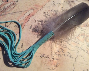 Feather Smudge Fan with Long Leather Fringe, Ceremonial Feather, Prayer Feathers,  Smudge Feather, Made in Canada
