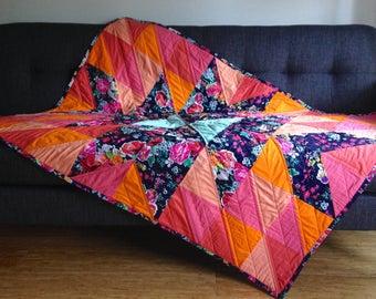 Throw Blanket, Modern Floral Quilt, Floral Throw Quilt, Floral Lap Quilt, Modern Floral Blanket, Handmade Quilt, Patchwork Quilt