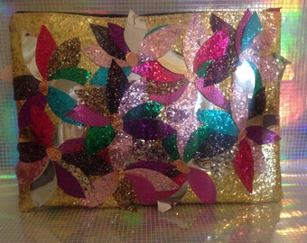 Glitter floral clutch bag