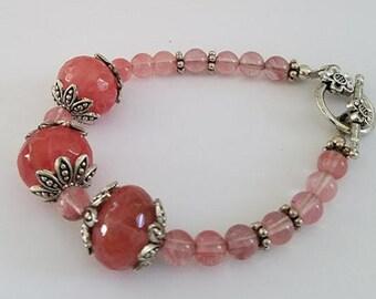 Cherry Quartz Bracelet, Quartz Bracelet, Pink Bracelet