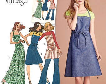 OUT of PRINT Simplicity Pattern 8073 Misses' Apron Dress in Three Lengths