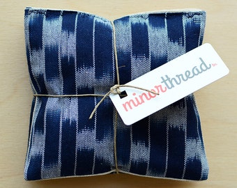 Organic Lavender Sachets in Navy Ikat & Natural Linen Fabric Set of 2 Lavender Scented Pillows Natural Home Mother's Day Gift