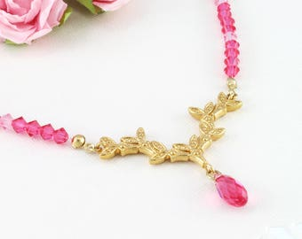 Pink statement necklace with gold and hot pink crystals, Pink lover gift idea, Pink necklace for your pink outfits, Pretty in pink
