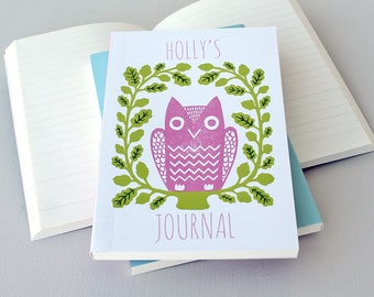Notebook-Personalised Notebook-Pink Notebook-Cute Owl-Lined Notebook-Children's Notebook-Journal-Gift For Student-Travel Journal