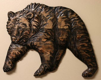 Hand Carved Wooden Grizzly Wall Hanging, Rustic Decor, Made in Montana