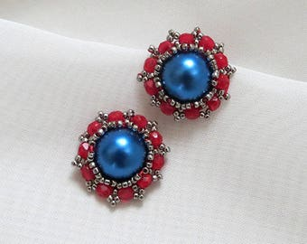 Clip on earrings Beaded earring Red blue Earrings, pearl navy blue studs, Stud Earrings, vintage studs, Red Post Earrings retro clip on
