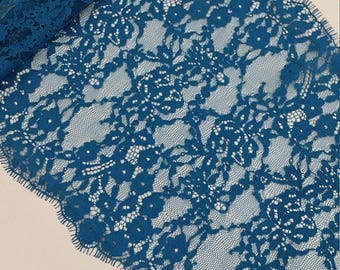 Turquoise Green lace Trimming, French Lace, Chantilly Lace, Bridal lace Wedding Lace Scalloped lace Eyelash lace Floral Lace Lingerie LL8822