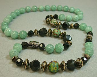 Vintage Chinese Gold Champleve Cloisonné Black Bead Knotted Necklace,Green Aventurine,Vintage Crystal,Vintage Black Carved Onyx Dice Beads