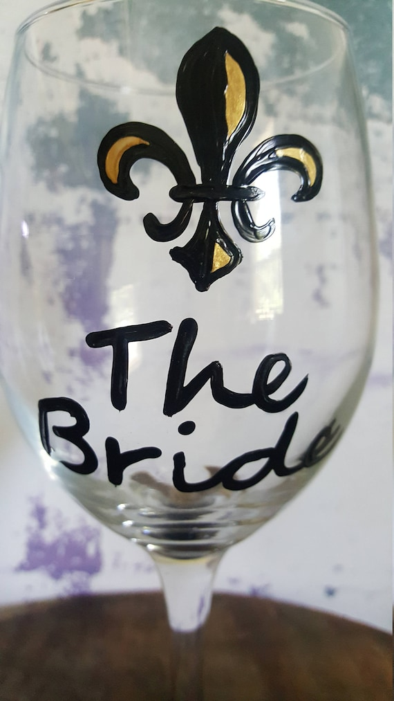 Bride Wine Glass, Bridal Shower Wine Glass, Bride Wine Glass, Bachelorette Wine Glass, NOLA weddins