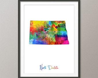 North Dakota Map USA, Art Print (1196)