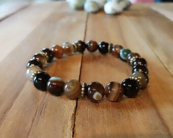 ribbon agate bracelet, beaded bracelet, banded agate