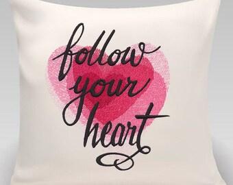 Follow your heart-Handmade pillow-Home decor-Engagement-Wedding-Home decor