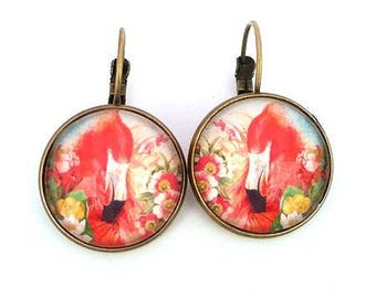 tropical Flamingo • • cabochon bronze earrings